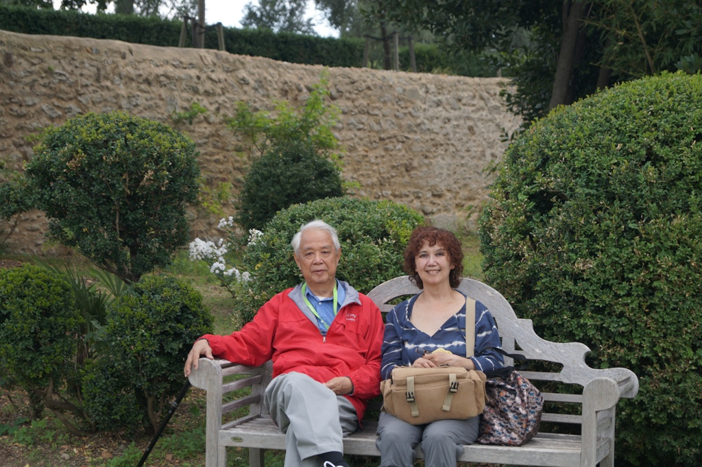 Dad and Lana in garden of Château de Flaugergues, Montpellier