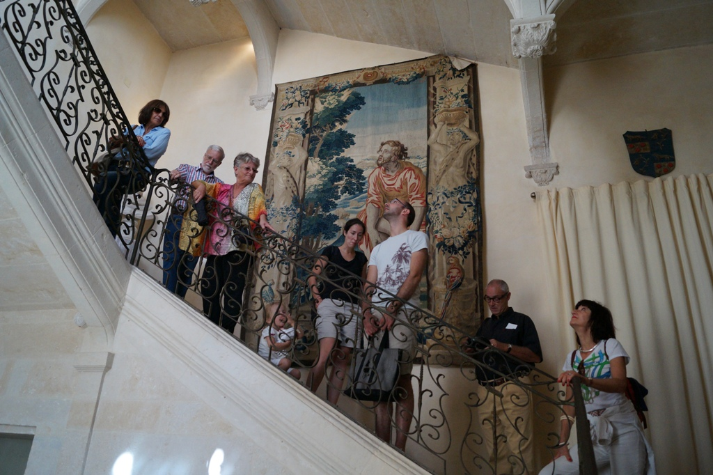 Staircase and tapestries inside Château de Flaugergues, Montpellier