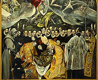 His famous painting where El Greco included his son (the little boy) on canvas